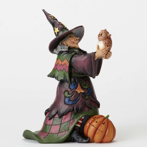 Jim Shore Hoot 'n Howl For Halloween Cute Witch with Owl